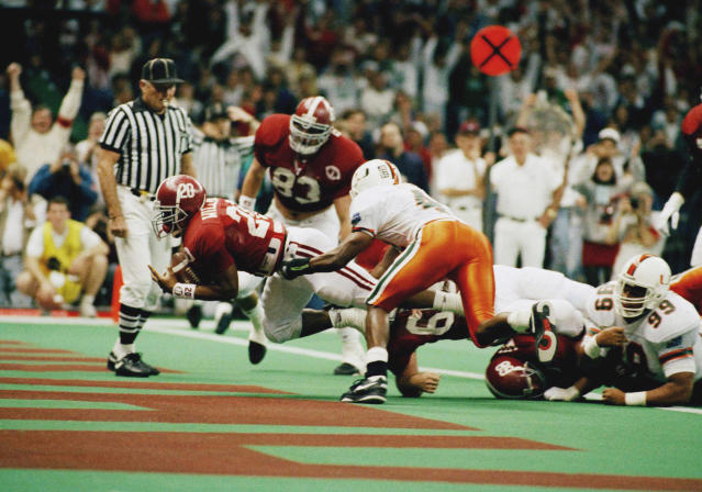 Alabama running back Sherman Williams (20) dives into the end zone for a 2-yard touchdown during the second quarter of the Sugar Bowl at the Superdome, Friday, Jan. 1, 1993, New Orleans, La. (AP Photo/Bill Feig)