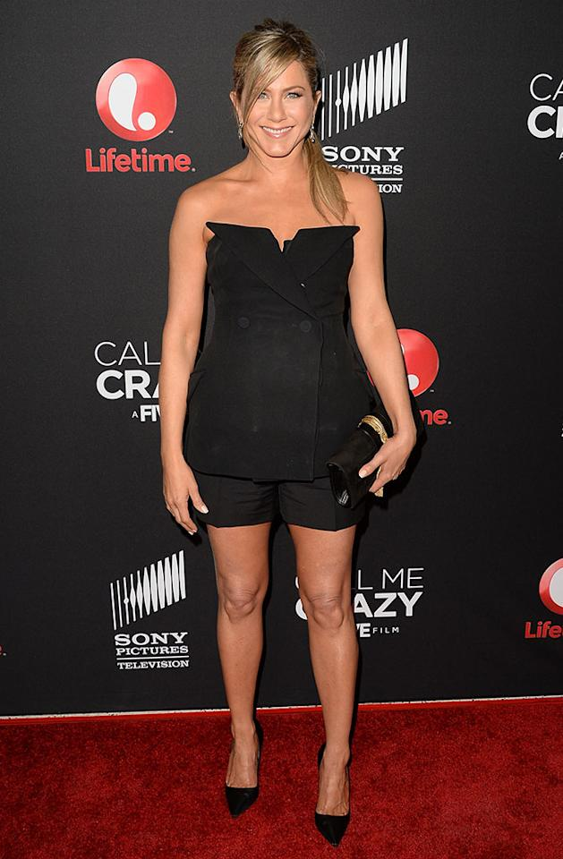 "Jennifer Aniston attends the premiere of Lifetime's ""Call Me Crazy: A Five Film"" at Pacific Design Center on April 16, 2013 in West Hollywood, California."