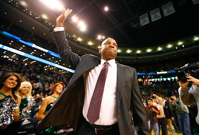 BOSTON, MA - DECEMBER 11: Los Angeles Clippers head coach, Doc Rivers, acknowledges the crowd prior to the game against his former team, the Boston Celtics, at TD Garden on December 11, 2013 in Boston, Massachusetts. (Photo by Jared Wickerham/Getty Images)