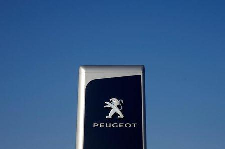 The logo of Peugeot is seen at a dealership of the brand in Strasbourg