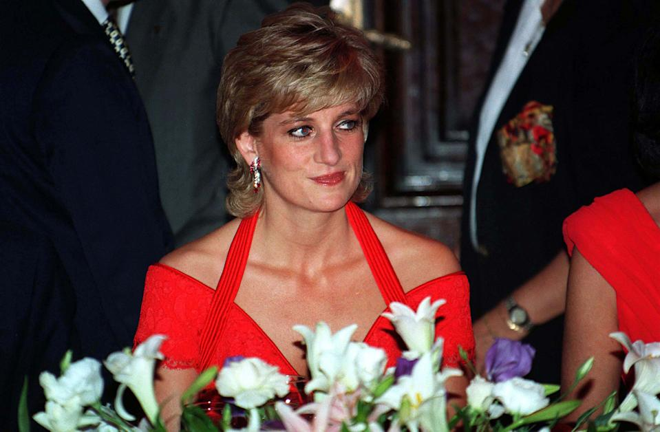 BUENOS AIRES, ARGENTINA - NOVEMBER 24:  Diana, Princess of Wales, wearing a red dress designed by Catherine Walker, attends a dinner in her honour on November 24, 1995 in Argentina. (Photo by Anwar Hussein/Getty Images)
