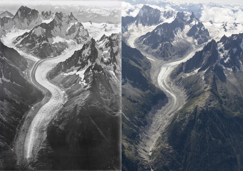 """Ice loss: The images were taken almost exactly 100 years apart and show how glaciers have shrunk on the mountain. (""""Dr Kieran Baxter, University of Dundee, Walter Mittelholzer, ETH-Bibliothek Zürich)"""