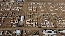 Al-Jadaa camp, south of Iraq's Mosul, hosts almost 7,500 displaced people and families of jihadists in two separate areas
