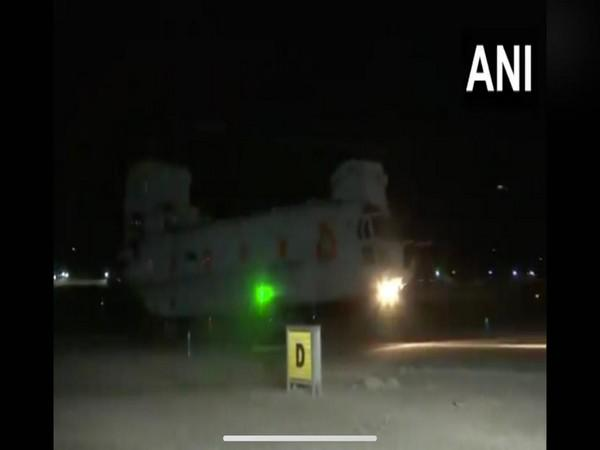 IAF's Chinook helicopter carried out sorties in night at Leh airbase. (Photo/ANI)