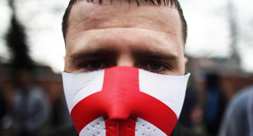 A supporter of the far-right English Defence League