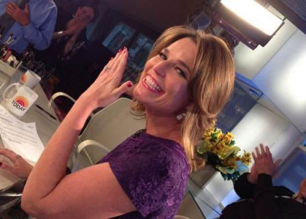 Savannah Guthrie flashes her engagement ring, in a photo Tweeted by Matt Lauer on May 13, 2013 -- Twitter