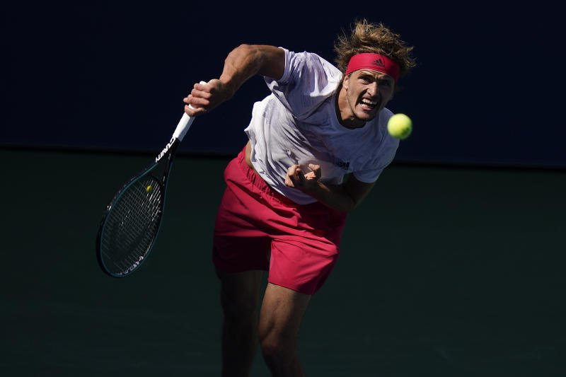Alexander Zverev, of Germany, serves to Alejandro Davidovich Fokina, of Spain, during the fourth round of the US Open tennis championships, Sunday, Sept. 6, 2020, in New York. (AP Photo/Seth Wenig)
