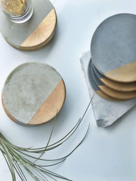 """This California-based Etsy shop sells concrete coasters, catchalls and planters. Shop the <a href=""""https://fave.co/30BbVuW"""" rel=""""nofollow noopener"""" target=""""_blank"""" data-ylk=""""slk:Concrete Coaster for $23"""" class=""""link rapid-noclick-resp"""">Concrete Coaster for $23</a> at <a href=""""https://fave.co/3f9c39c"""" rel=""""nofollow noopener"""" target=""""_blank"""" data-ylk=""""slk:Made By Rheal on Etsy."""" class=""""link rapid-noclick-resp"""">Made By Rheal on Etsy.</a>"""