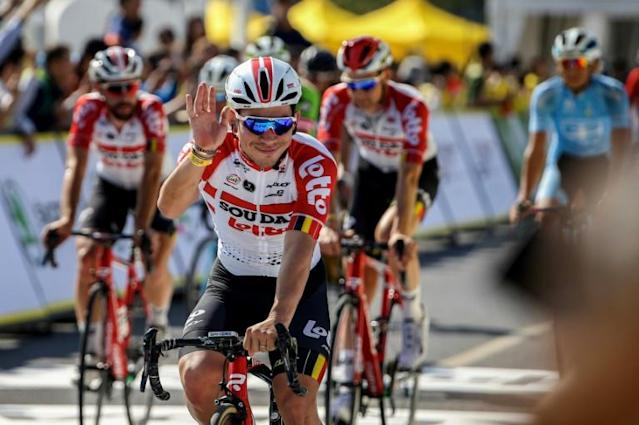 Australian sprinter Caleb Ewan (C) has signed a new contact keeping him at Lotto-Soudal until the end of 2022 (AFP Photo/STR)