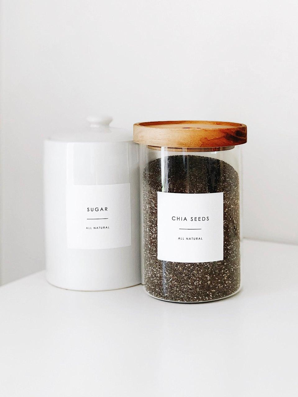 <p>They'll love the minimalist look of these <span>Pantry Containers With Personalized Labels</span> ($9).</p>