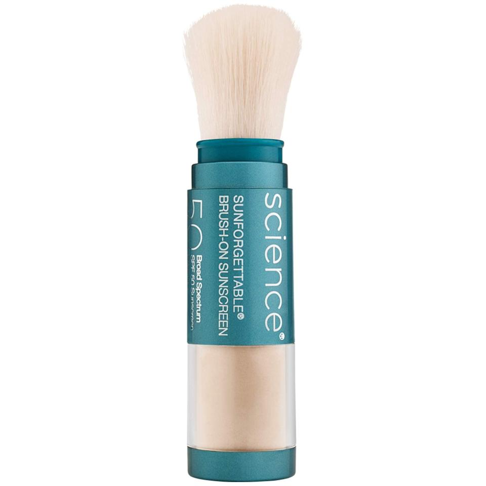 """<strong><h2>Colorscience</h2></strong><br>20% off select products<br><br><strong>Colorescience</strong> Brush-On Sunscreen Mineral Powder, $, available at <a href=""""https://amzn.to/3vISBYF"""" rel=""""nofollow noopener"""" target=""""_blank"""" data-ylk=""""slk:Amazon"""" class=""""link rapid-noclick-resp"""">Amazon</a>"""