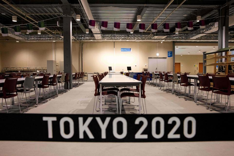 A view of the main dining hall of the Olympic Village during a media tour of the Tokyo 2020 Olympic and Paralympic Village in Tokyo on June 20, 2021.