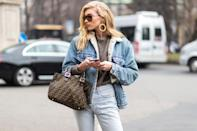 """<p>A faux shearling-lined denim jacket makes for an instantly cozy, '70s-inspired take on this versaticle topper, as demonstrated by Elsa Hosk.</p><p><em>ASOS faux shearling denim jacket, $44, <a href=""""http://us.asos.com/asos/asos-denim-borg-jacket-in-midwash-blue/prd/7910828"""" rel=""""nofollow noopener"""" target=""""_blank"""" data-ylk=""""slk:asos.com"""" class=""""link rapid-noclick-resp"""">asos.com</a>.</em></p><p><a class=""""link rapid-noclick-resp"""" href=""""http://us.asos.com/asos/asos-denim-borg-jacket-in-midwash-blue/prd/7910828"""" rel=""""nofollow noopener"""" target=""""_blank"""" data-ylk=""""slk:SHOP"""">SHOP</a><br></p>"""