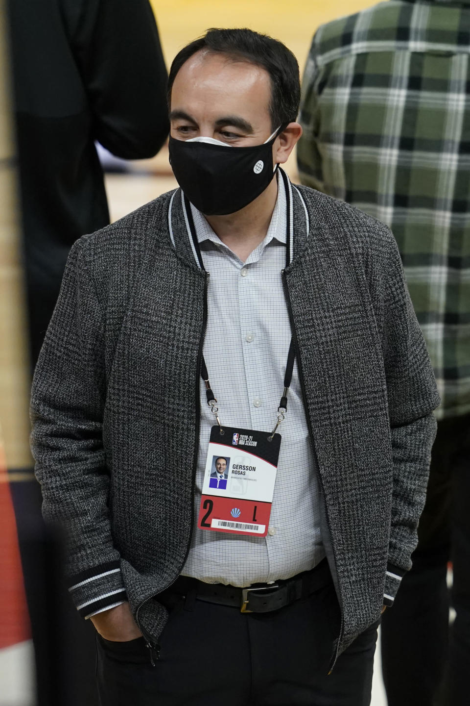Minnesota Timberwolves president of basketball operations Gersson Rosas before an NBA basketball game against the Golden State Warriors in San Francisco, Wednesday, Jan. 27, 2021. (AP Photo/Jeff Chiu)