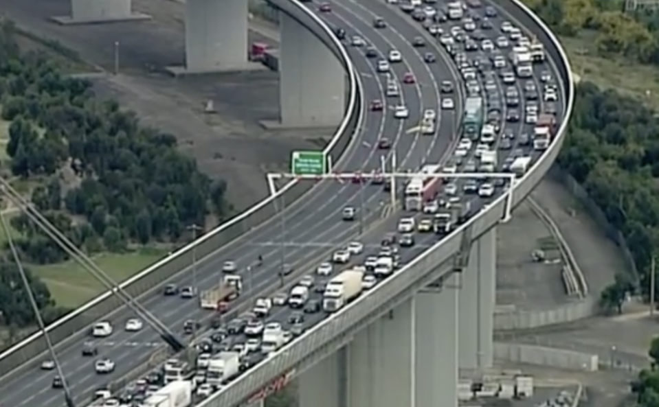 Traffic builds up on West Gate Freeway, Melbourne.