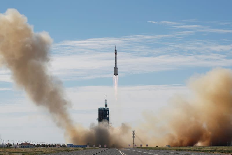 Rocket carrying the Shenzhou-12 spacecraft and three astronauts takes off from Jiuquan Satellite Launch Center