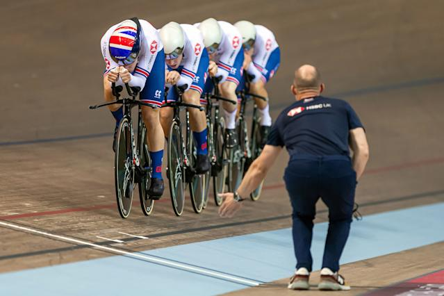 Charlie Tanfield, Ethan Hayter, Ollie Wood and Ed Clancy of Great Britain in action during the Mens Team Pursuit first round.