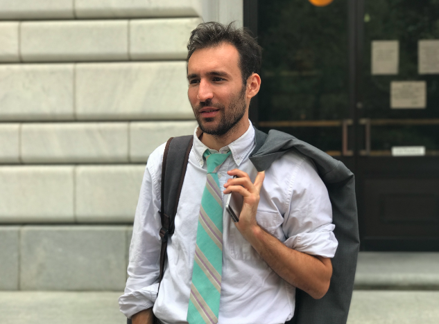 Alec Karakatsanis, the founder and executive director of Civil Rights Corps, outside the 5th U.S. Circuit Court of Appeals last week. (Ryan J. Reilly / HuffPost)