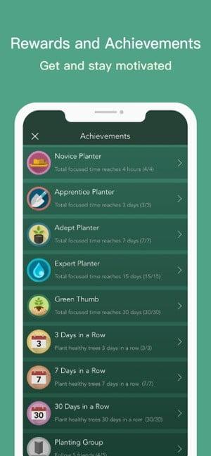 Screenshot of Forest app showing a list of rewards and achievements