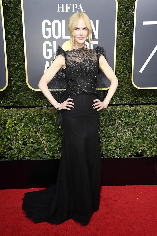 <p>Aussie golden girl Nicole was a firm fashion favourite with her gorgeous lace dress with capped sleeves.</p>
