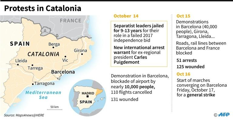 Map of Catalonia showing where protests occurred since the conviction and heavy jail terms for separatist leaders. (AFP Photo/Vincent LEFAI)