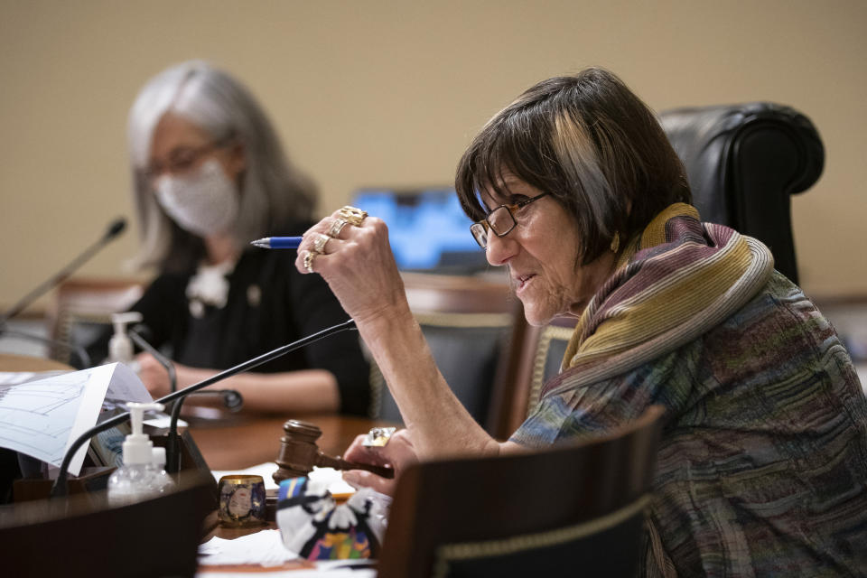 Rep. Rosa DeLauro, D-Conn., speaks during a Labor, Health and Human Services, Education, and Related Agencies Appropriations Subcommittee hearing about the COVID-19 response on Capitol Hill in Washington, Thursday, June 4, 2020. (Al Drago/Pool via AP)