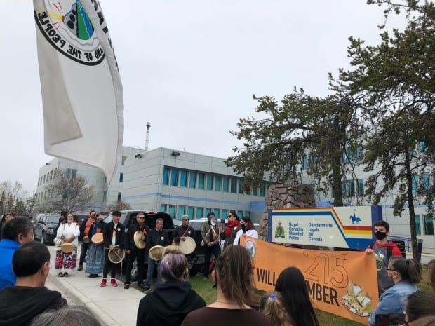 As part of the Dene Nation memorial gathering march, there was a stop at the Yellowknife RCMP detachment on Friday.