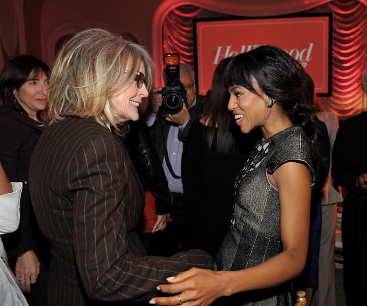 IMAGE DISTRIBUTED FOR THE HOLLYWOOD REPORTER - Actresses Diane Keaton, left, and Kerry Washington greet each other at The Hollywood Reporter's 21st Annual Women in Entertainment Power 100 breakfast presented by Lifetime on Wednesday, Dec. 5, 2012 in Beverly Hills, Calif. (Photo by John Shearer/Invision for The Hollywood Reporter/AP Images)