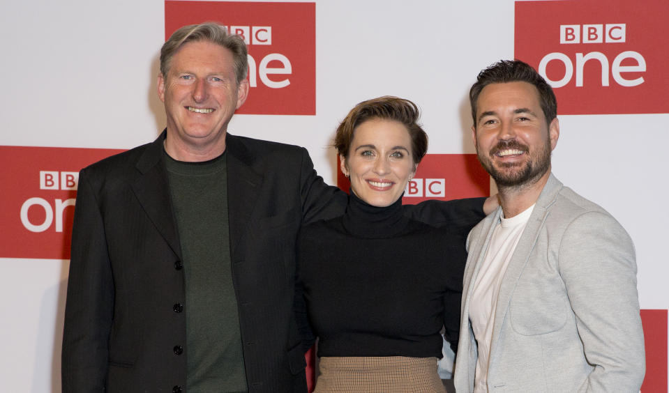 (left to right) Adrian Dunbar, Vicky McClure and Martin Compston attending a photo call for BBC One's Bodyguard at the BFI Southbank in London. Picture dated: Monday March 18, 2019. Photo credit should read: Isabel Infantes / EMPICS Entertainment.