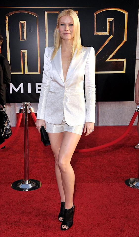 """Right behind ScarJo in the arrivals line was Gwyneth Paltrow, who shimmered in a gorgeous Giorgio Armani short suit, which she paired with $750 Gianvito Rossi slingback sandals and sophisticated Chopard jewels. Lester Cohen/<a href=""""http://www.wireimage.com"""" target=""""new"""">WireImage.com</a> - April 26, 2010"""