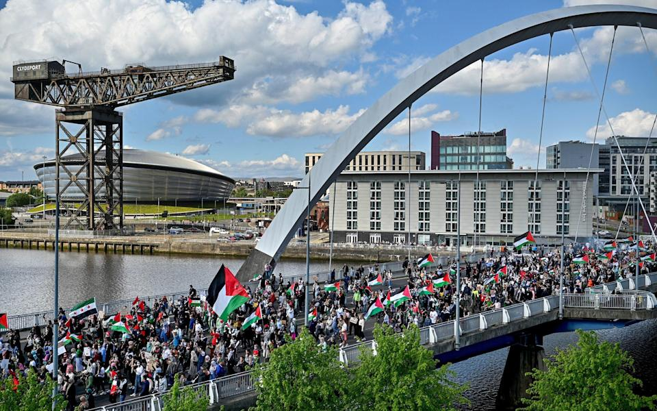 Protestors in Glasgow gathered in solidarity with the people of Palestine amid ongoing conflict in Gaza - Getty Images Europe