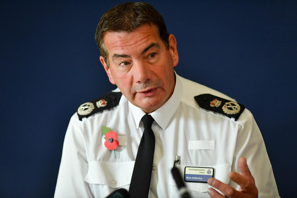 Chief Constable of Northamptonshire Police, Nick Adderley, speaking during a press conference at Northamptonshire Police HQ at Wootton Hall Park, Northampton about the death of Harry Dunn.