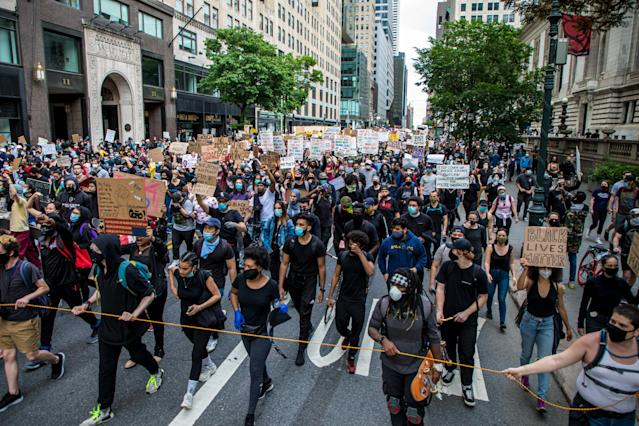 Protesters against police brutality march from Bryant Park to Trump Tower in New York City. (PA)