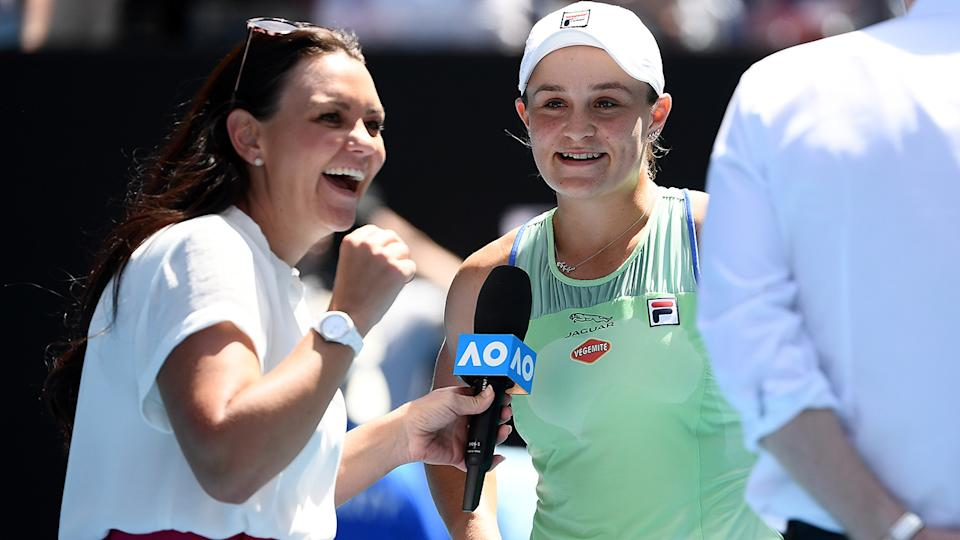 Ash Barty and Casey Dellacqua, pictured here at the Australian Open in 2020.