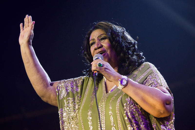 FILE - In this May 11, 2013 file photo, Aretha Franklin performs during McDonald's Gospelfest 2013 at the Prudential Center in Newark, N.J. Franklin and former baseball player Bo Jackson will be honored at the 2013 MLB Beacon Awards Luncheon next month. Major League Baseball announced Thursday, July 25, that Franklin and Jackson will receive awards Aug. 24 at the Chicago Marriott Magnificent Mile before the annual Civil Rights Game. The game will be played between the Chicago White Sox and the Texas Rangers at the U.S. Cellular Field. (Photo by Charles Sykes/Invision/AP, File)