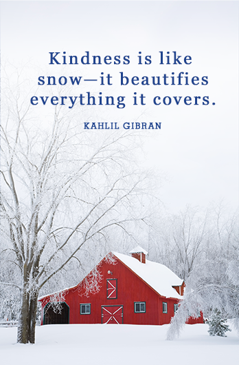"<p>""Kindness is like snow—it beautifies everything it covers.""</p>"