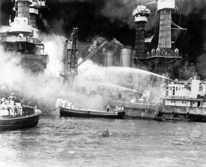 <p>The battleship USS West Virginia is seen afire after the Japanese surprise attack on Pearl Harbor, Hawaii, on December 7, 1941. (AP Photo) </p>