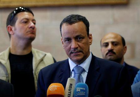United Nations Special Envoy for Yemen, Ismail Ould Cheikh Ahmed, speaks to reporters upon his arrival at Sanaa airport on a visit to Sanaa