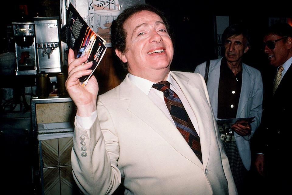 American comedian and actor Jackie Mason as he poses at the Carnegie Deli, New York, New York, 1987.