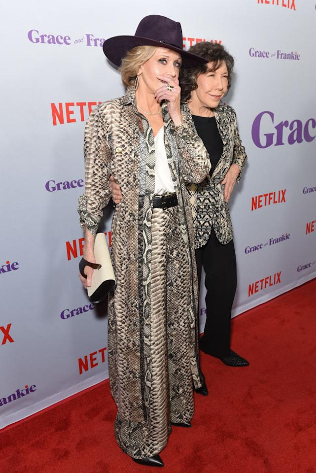 "<p><strong>Jan. 18, 2018<br /></strong>Jane Fonda rocked a snakeskin-patterned suit for the season four premiere of her hit Netflix show ""Grace & Frankie"" on Thursday. Her wide-legged pants were fitted in at the waist with a sharp black belt and she complemented the look with a matching calf-length patterned blazer, pointed heels and a Western-inspired hat. A rather unusual look for an 80-year-old woman, but quite fitting for Fonda! </p>"