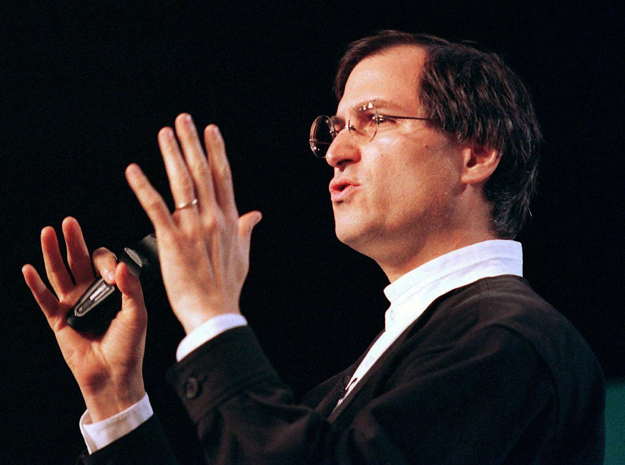 FILE - In this Jan. 7, 1997, file photo, Steve Jobs, chief executive of Pixar, speaks at the MacWorld trade show in San Francisco. Apple Inc. said Jobs died Wednesday, Oct. 5, 2011. He was 56. (AP Photo/Eric Risberg, File)