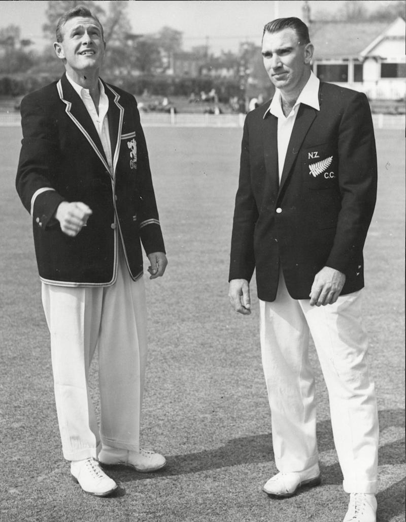Tossing up with the Worcestershire captain Peter Richardson before a tour match in 1958 - ANL/Shutterstock