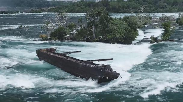 PHOTO: Severe weather conditions caused the iron scow at Niagara Falls, which has remained lodged for over a century, to shift significantly from its position, Nov. 1, 2019. (Niagara Parks/Facebook)
