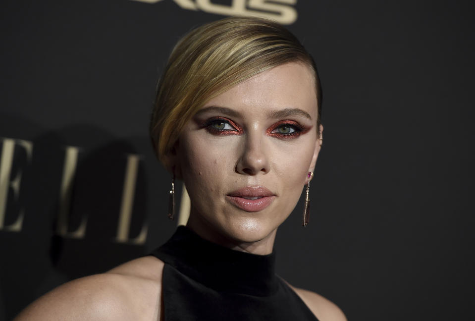 Scarlett Johansson arrives at the 26th annual ELLE Women in Hollywood Celebration at the Four Seasons Hotel on Monday, Oct. 14, 2019, in Los Angeles. (Photo by Jordan Strauss/Invision/AP)