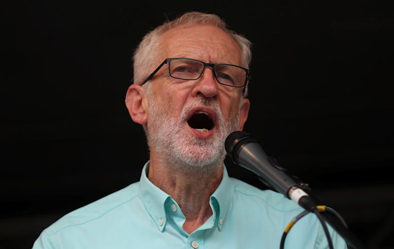 Britain's opposition Labour Party leader Jeremy Corbyn speaks during a rally calling for a general election in London, Britain July 25,2019. REUTERS/Simon Dawson