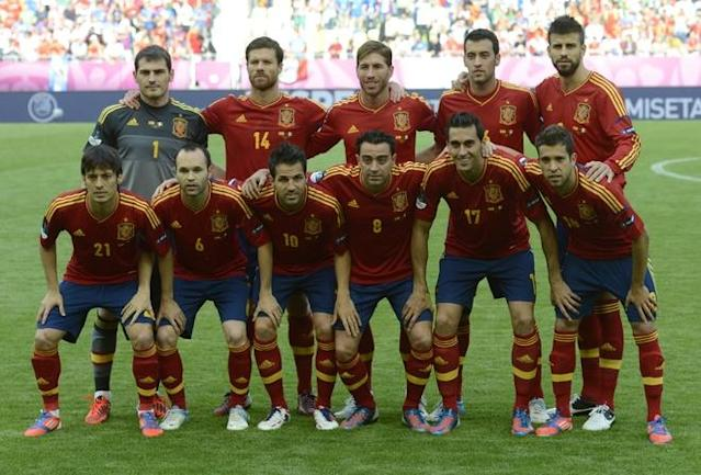 Spain's national football team players (from top left) Spanish goalkeeper Iker Casillas, Spanish midfielder Xabi Alonso, Spanish defender Sergio Ramos, Spanish midfielder Sergio Busquets, Spanish defender Gerard Pique, Spanish midfielder David Silva, Spanish midfielder Andres Iniesta, Spanish midfielder Cesc Fabregas, Spanish midfielder Xavi Hernandez, Spanish defender Alvaro Arbeloa and Spanish defender Jordi Alba during the Euro 2012 championships football match Spain vs Italy on June 10, 2012 at the Gdansk Arena. AFP PHOTO / PIERRE-PHILIPPE MARCOUPIERRE-PHILIPPE MARCOU/AFP/GettyImages