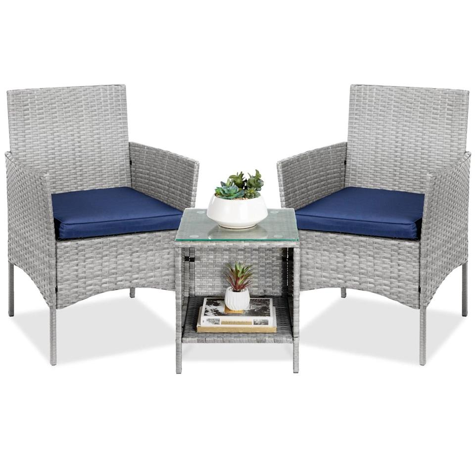 <p>If you're decor aesthetic is more cool toned, the <span>Best Choice Products 3-Piece Outdoor Wicker Conversation Bistro Set</span> ($170) is a comfortable option. It has a weather-resistant wickser and also comes in a brown with red cushions.</p>