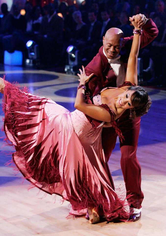 Cheryl Burke and Maurice Greene perform a dance on the seventh season of Dancing with the Stars.
