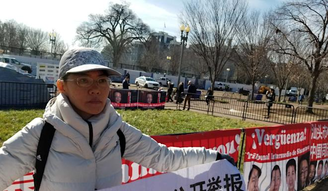 Cai Xiuling, protesting over China's judicial system and her inheritance in front of the White House on Wednesday. Photo: Mark Magnier