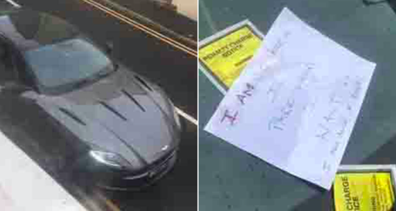 Residents in Whitby left an angry note alongside the parking tickets on the Aston Martin. (Reach)